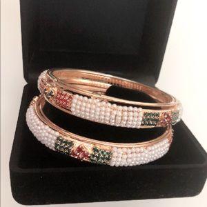 Jewelry - Pearl and Zircon, Gold Bangle Bracelet Set